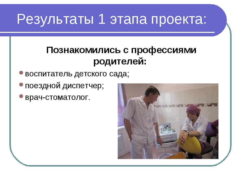 Результаты 1 этапа проекта: Познакомились с профессиями родителей: воспитател...