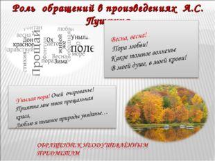 Роль обращений в произведениях А.С. Пушкина