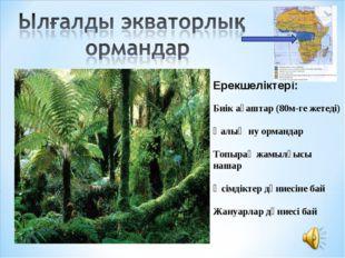 Ерекшеліктері: Биік ағаштар (80м-ге жетеді) Қалың ну ормандар Топырақ жамылғы