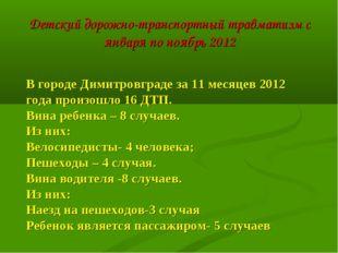 Детский дорожно-транспортный травматизм с января по ноябрь 2012 В городе Дими