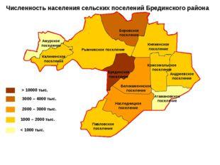 Численность населения сельских поселений Брединского района > 10000 тыс. 3000