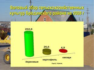 Валовый сбор сельскохозяйственных культур Брединского района на 2008 г