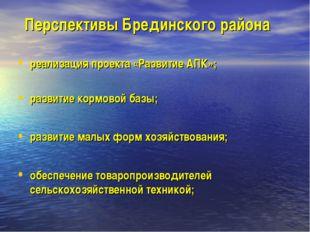 Перспективы Брединского района реализация проекта «Развитие АПК»; развитие ко