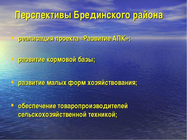 Перспективы Брединского района реализация проекта «Развитие АПК»; развитие ко...