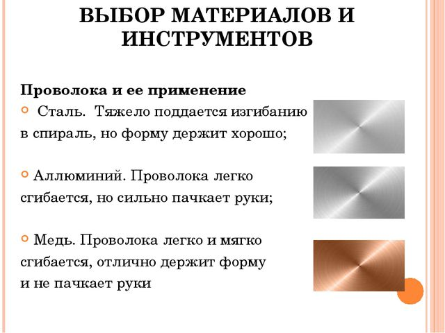 ВЫБОР МАТЕРИАЛОВ И ИНСТРУМЕНТОВ Проволока и ее применение Сталь. Тяжело подда...