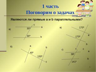 * 1 часть Поговорим о задачах Являются ли прямые a и b параллельными? 30º 30º