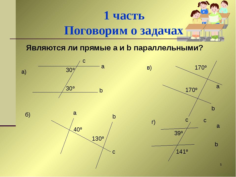 * 1 часть Поговорим о задачах Являются ли прямые a и b параллельными? 30º 30º...