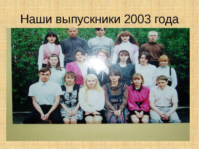 Наши выпускники 2003 года