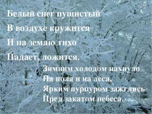 Белый снег пушистый В воздухе кружится И на землю тихо Падает, ложится. Зимни