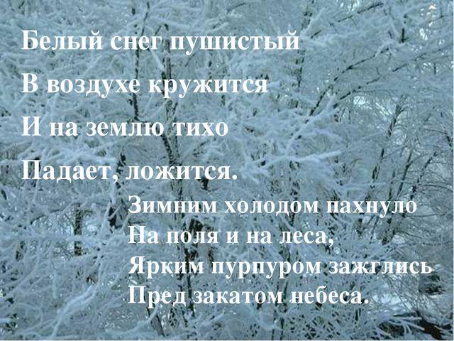 Белый снег пушистый В воздухе кружится И на землю тихо Падает, ложится. Зимни...