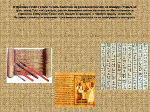 В Древнем Египте стали писать палочкой из тростника (калам) на папируе (бумаг