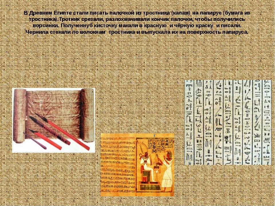 В Древнем Египте стали писать палочкой из тростника (калам) на папируе (бумаг...