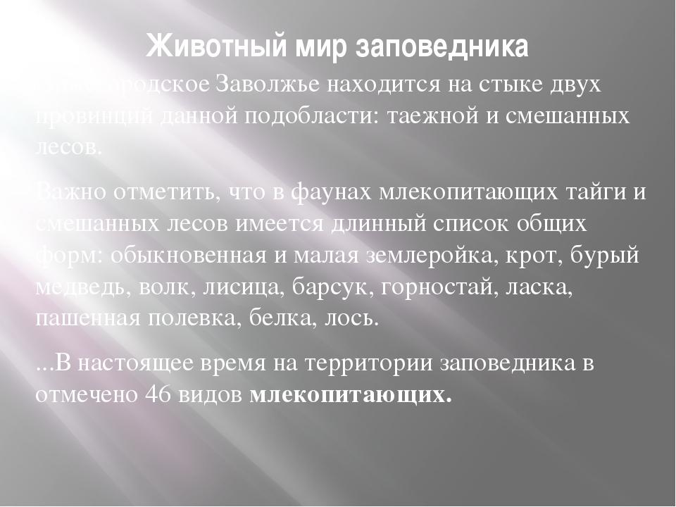 Животный мир заповедника Нижегородское Заволжье находится на стыке двух прови...