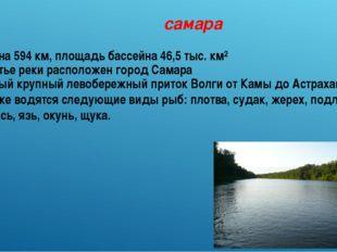 самара Длина 594 км, площадь бассейна 46,5 тыс. км² В устье реки расположен г