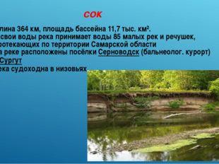 сок Длина 364км, площадь бассейна 11,7 тыс. км². В свои воды река принимает