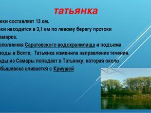 татьянка Длина реки составляет 13км. Устье реки находится в 3,1км по левому