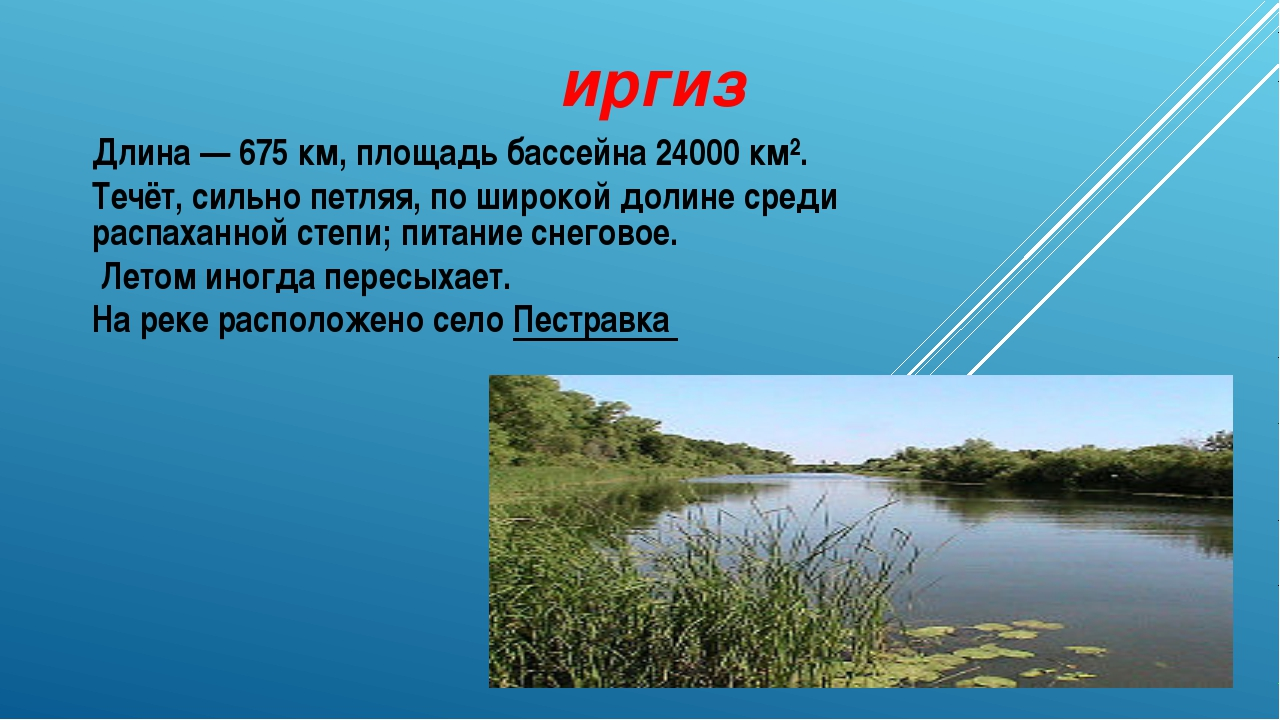 иргиз Длина— 675км, площадь бассейна 24000 км². Течёт, сильно петляя, по ши...