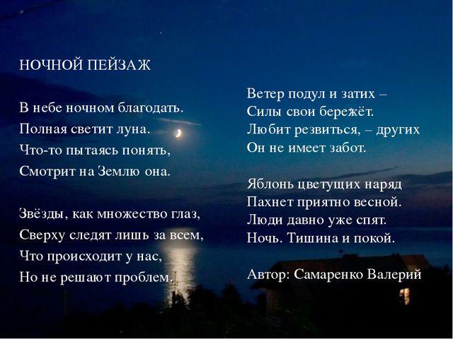 НОЧНОЙ ПЕЙЗАЖ В небе ночном благодать. Полная светит луна. Что-то пытаясь пон...