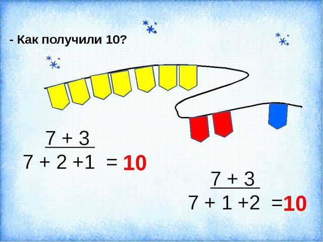 - Как получили 10? 7 + 3 7 + 2 +1 = 7 + 3 7 + 1 +2 = 10 10