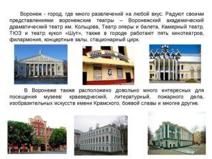 Воронеж - город, где много развлечений на любой вкус. Радуют своими представл