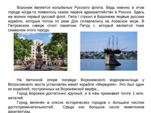 Воронеж является колыбелью Русского флота. Ведь именно в этом городе когда-то