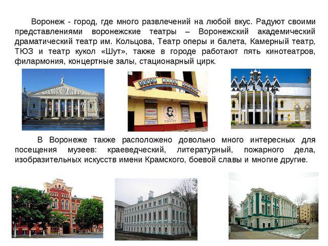 Воронеж - город, где много развлечений на любой вкус. Радуют своими представл...