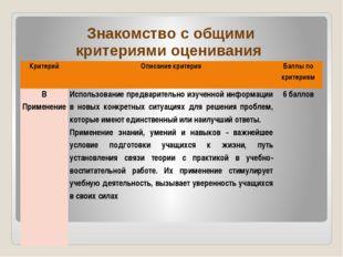 Знакомство с общими критериями оценивания Критерий  Описание критерия Баллып