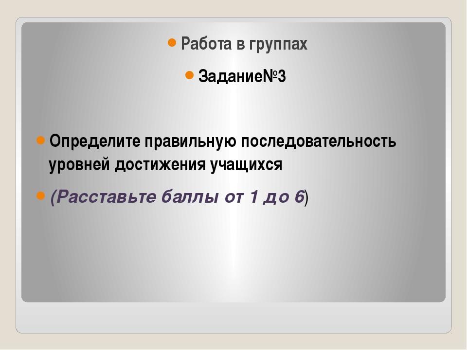 Работа в группах Задание№3 Определите правильную последовательность уровней...