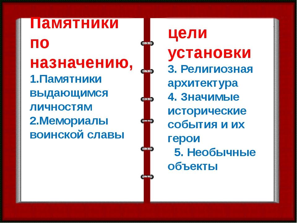 Памятники по назначению, 1.Памятники выдающимся личностям 2.Мемориалы воинско...