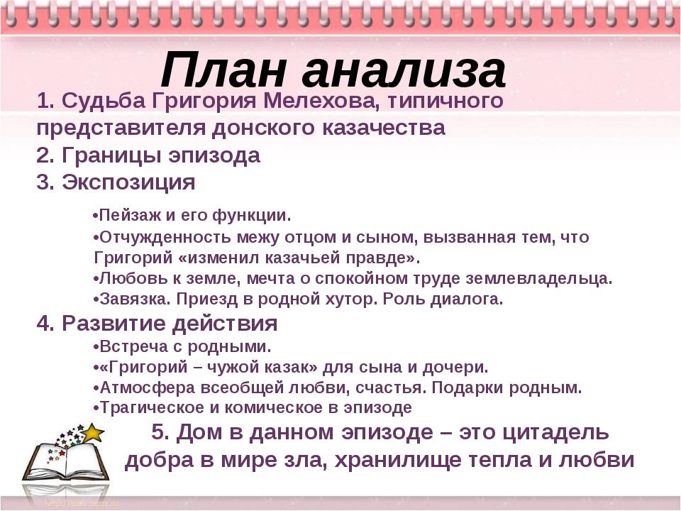 Тихий Дон План анализа 1. Судьба Григория Мелехова, типичного представителя д...