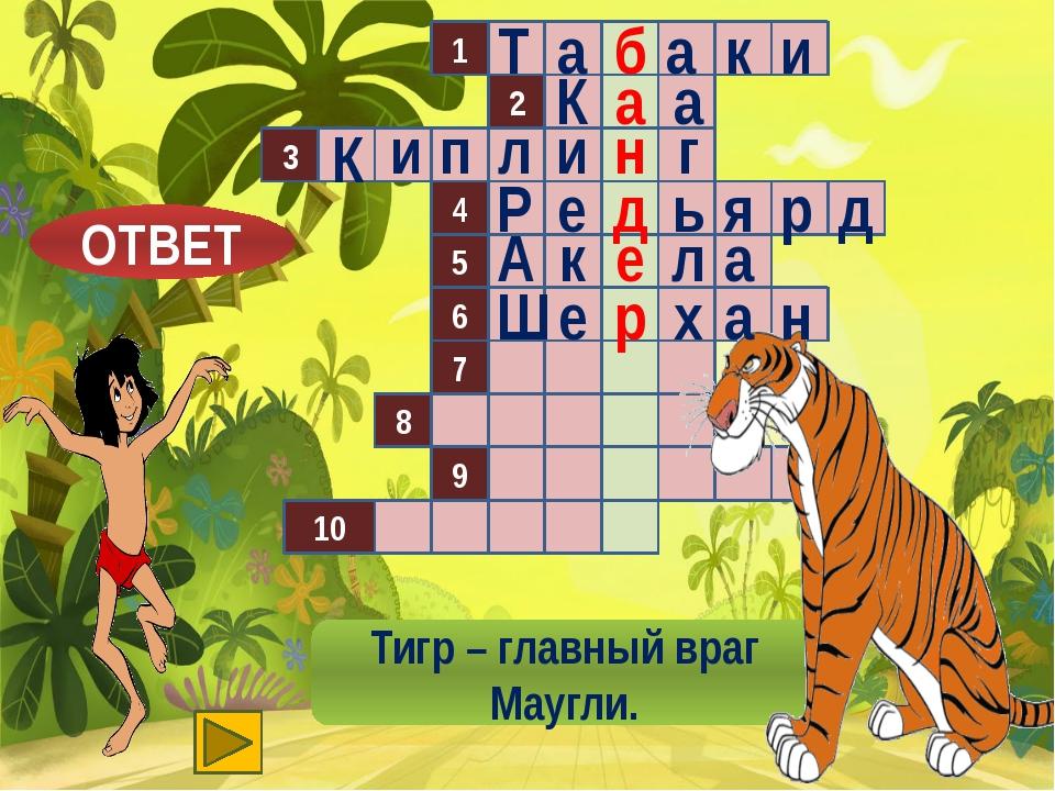 1 2 3 4 5 8 9 10 6 7 Тигр – главный враг Маугли. б Т а а к и ОТВЕТ а а К н п...