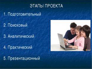 1. Подготовительный 2. Поисковый 3. Аналитический 4. Практический 5. Презент