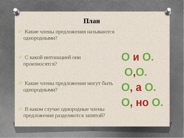 План Какие члены предложения называются однородными? С какой интонацией они п...