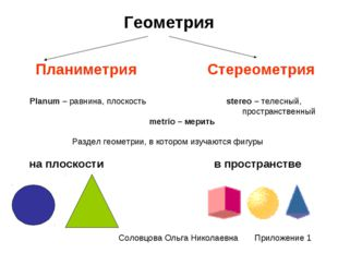 Геометрия Планиметрия Стереометрия Planum – равнина, плоскость stereo – телес