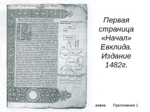 Первая страница «Начал» Евклида. Издание 1482г. Соловцова Ольга Николаевна Пр