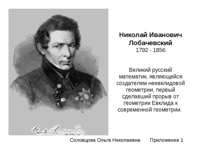Николай Иванович Лобачевский 1792 - 1856 Великий русский математик, являющейс...