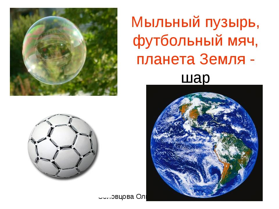 Мыльный пузырь, футбольный мяч, планета Земля - шар Соловцова Ольга Николаевн...
