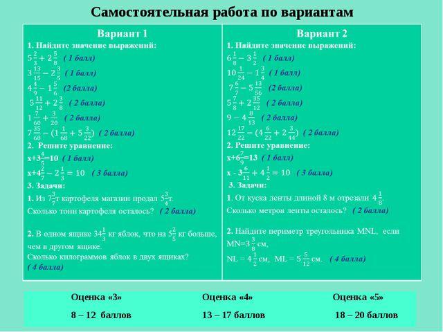 Самостоятельная работа по вариантам Оценка «3»Оценка «4»Оценка «5» 8 – 12 б...