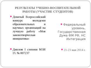 РЕЗУЛЬТАТЫ УЧЕБНО-ВОСПИТАТЕЛЬНОЙ РАБОТЫ (УЧАСТИЕ СТУДЕНТОВ) Девятый Всероссий