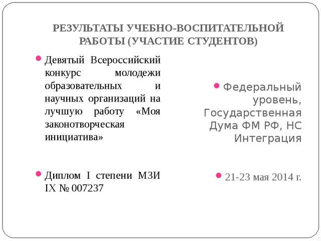 РЕЗУЛЬТАТЫ УЧЕБНО-ВОСПИТАТЕЛЬНОЙ РАБОТЫ (УЧАСТИЕ СТУДЕНТОВ) Девятый Всероссий...