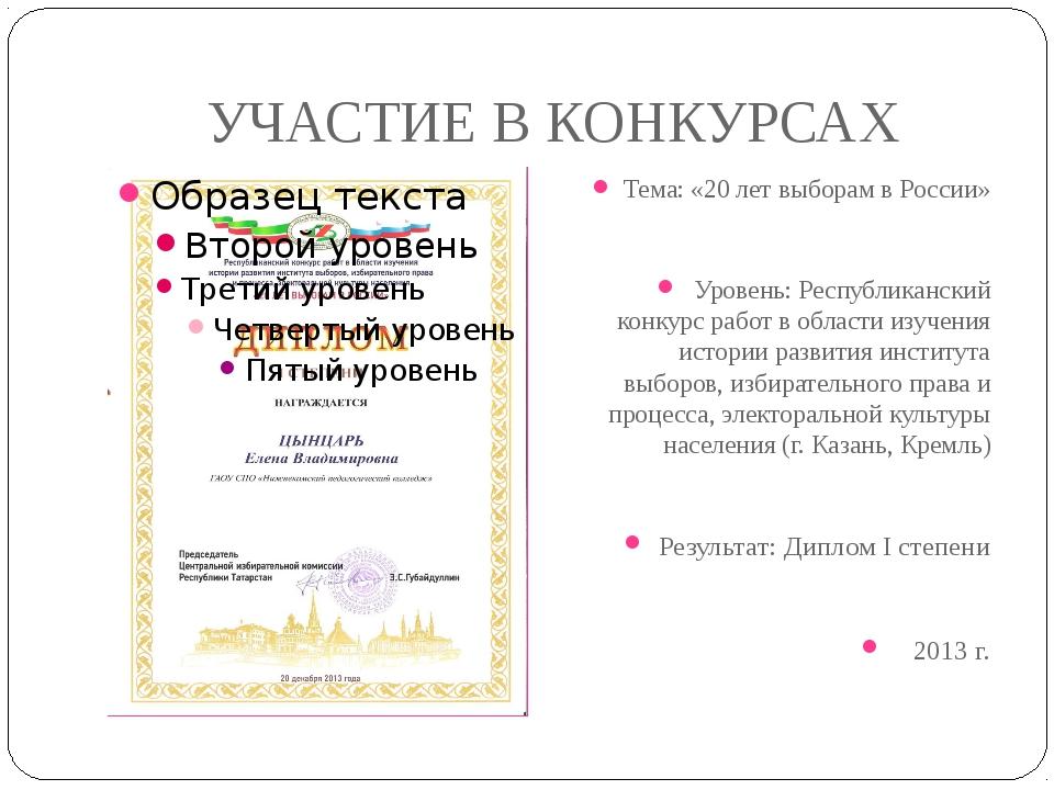 УЧАСТИЕ В КОНКУРСАХ Тема: «20 лет выборам в России» Уровень: Республиканский...