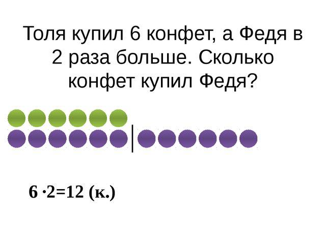 Толя купил 6 конфет, а Федя в 2 раза больше. Сколько конфет купил Федя? 6 ∙2=...