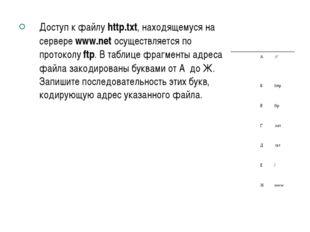 Доступ к файлу http.txt, находящемуся на сервере www.net осуществляется по пр