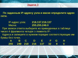 По заданным IP-адресу узла и маске определите адрес сети. IP-адрес узла: 2