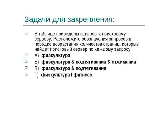 Задачи для закрепления: В таблице приведены запросы к поисковому серверу. Рас...