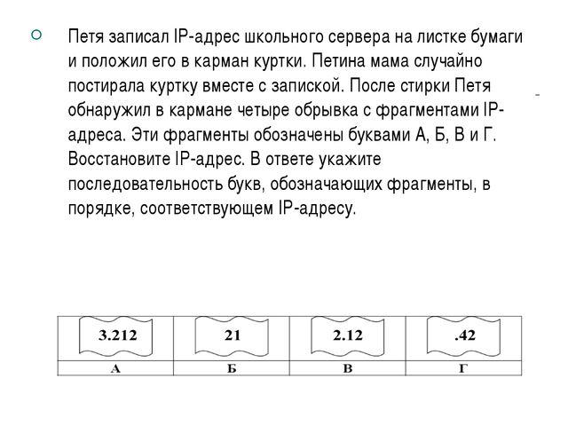 Петя записал IP-адрес школьного сервера на листке бумаги и положил его в карм...