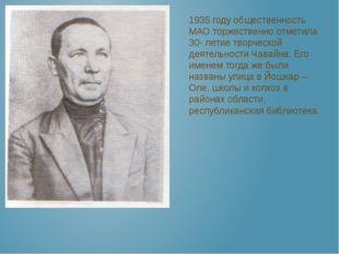 1935 году общественность МАО торжественно отметила 30- летие творческой деят