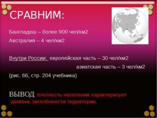 СРАВНИМ: Бангладеш – более 900 чел/км2 Австралия – 4 чел/км2 Внутри России: е