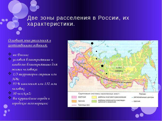 Две зоны расселения в России, их характеристики. Основная зона расселения и х...