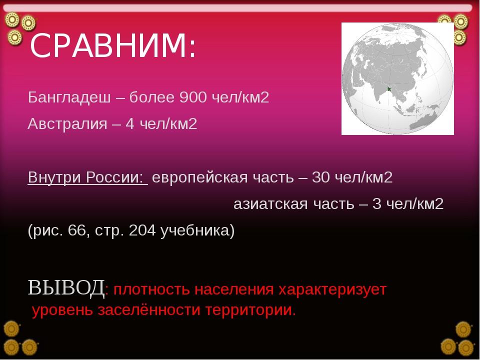 СРАВНИМ: Бангладеш – более 900 чел/км2 Австралия – 4 чел/км2 Внутри России: е...